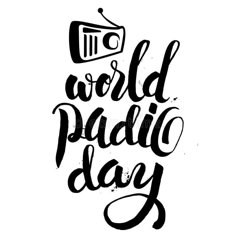 Wektorowa ilustracja rocznika radio dla Światowego Radiowego dnia ilustracja wektor