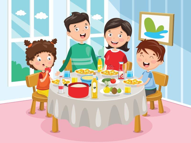 Wektorowa ilustracja Rodzinny Mieć gościa restauracji ilustracja wektor