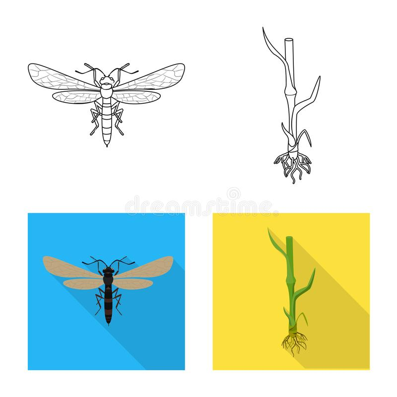 Wektorowa ilustracja rolnictwo i uprawia? ziemi? znak Set rolnictwo i ro?lina akcyjny symbol dla sieci ilustracja wektor