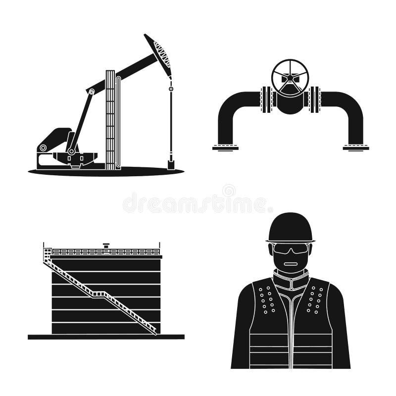 Wektorowa ilustracja ropa i gaz logo Kolekcja oleju i benzyny akcyjny symbol dla sieci ilustracji