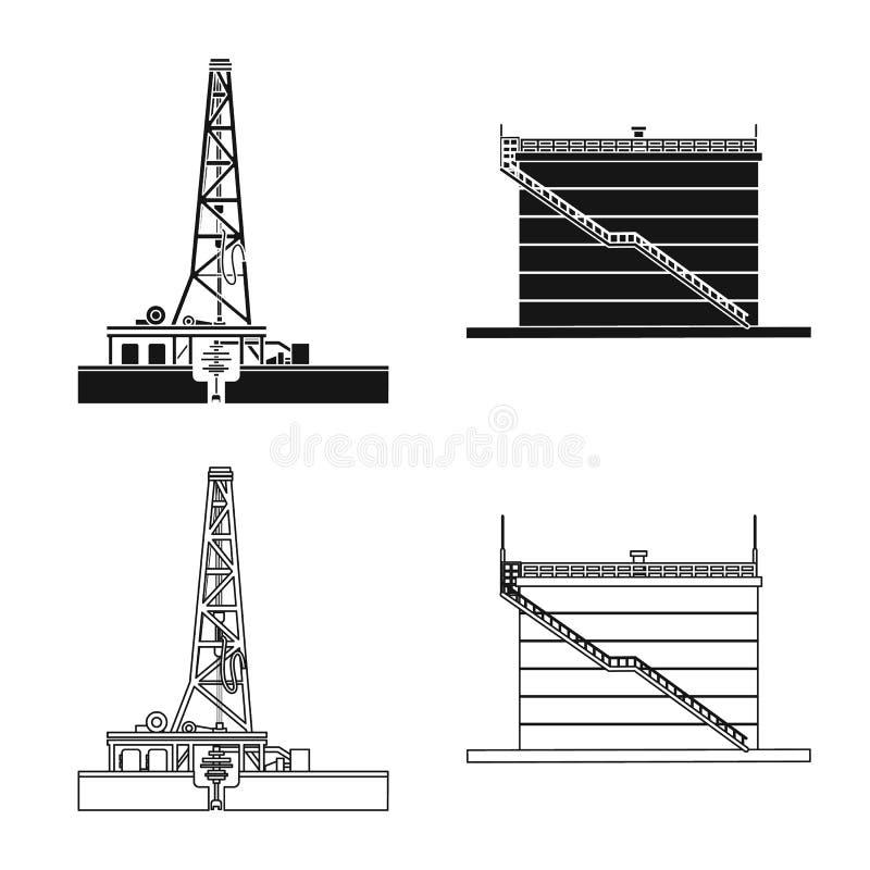 Wektorowa ilustracja ropa i gaz symbol Kolekcja oleju i benzyny akcyjna wektorowa ilustracja ilustracja wektor
