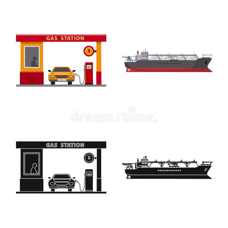 Wektorowa ilustracja ropa i gaz symbol Set oleju i benzyny akcyjna wektorowa ilustracja ilustracja wektor