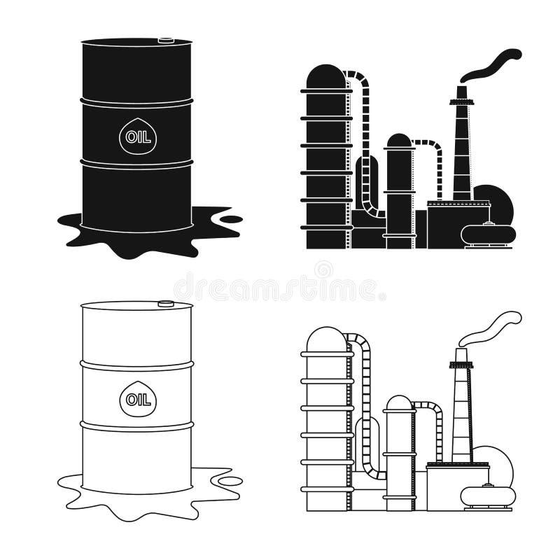 Wektorowa ilustracja ropa i gaz symbol Set oleju i benzyny akcyjny symbol dla sieci royalty ilustracja