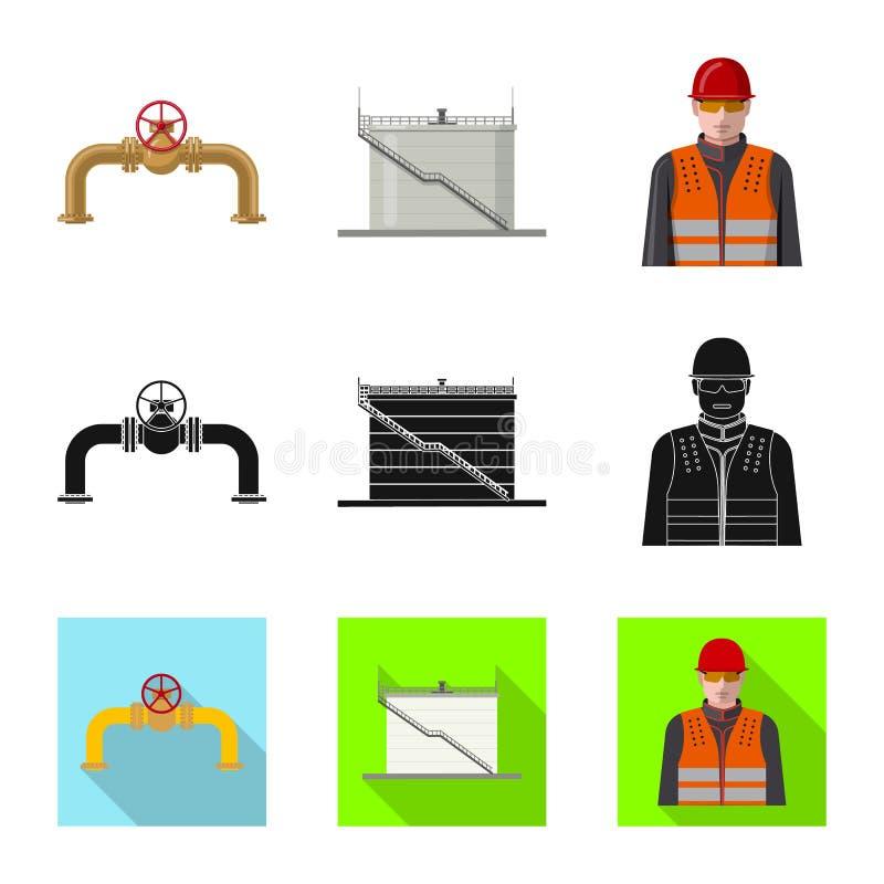 Wektorowa ilustracja ropa i gaz znak Kolekcja oleju i benzyny wektorowa ikona dla zapasu royalty ilustracja