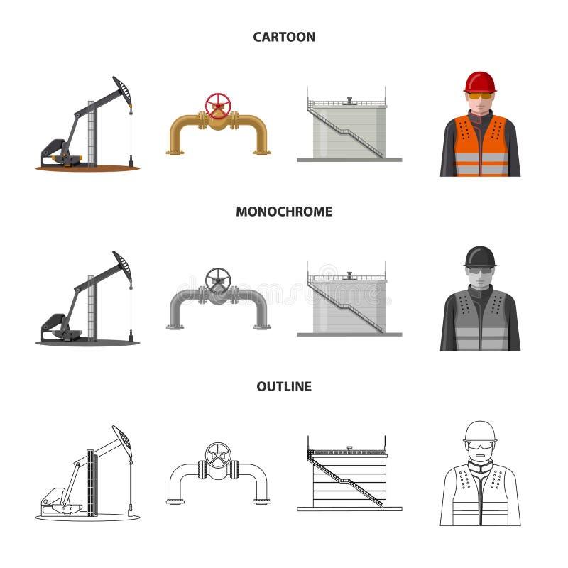 Wektorowa ilustracja ropa i gaz znak Set oleju i benzyny akcyjny symbol dla sieci ilustracja wektor