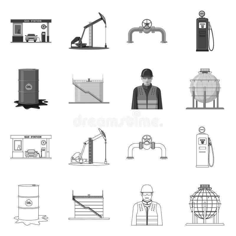 Wektorowa ilustracja ropa i gaz znak Set oleju i benzyny wektorowa ikona dla zapasu ilustracji