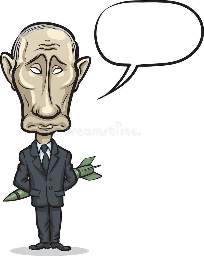 Wektorowa ilustracja Rosyjski prezydent Putin z pociskiem ilustracja wektor