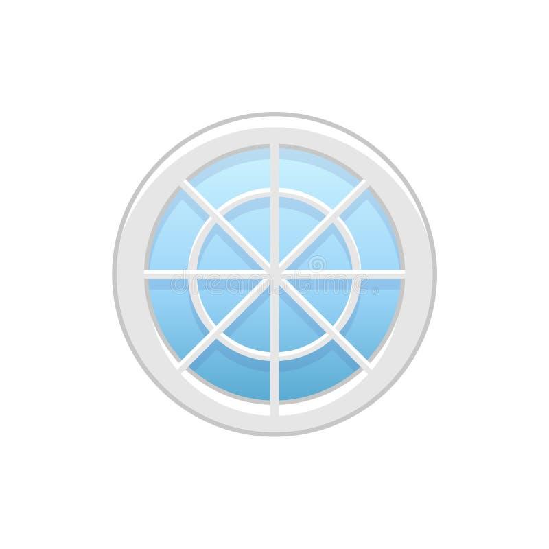 Wektorowa ilustracja round strychowy winylowy koła okno Płaska ikona ilustracja wektor