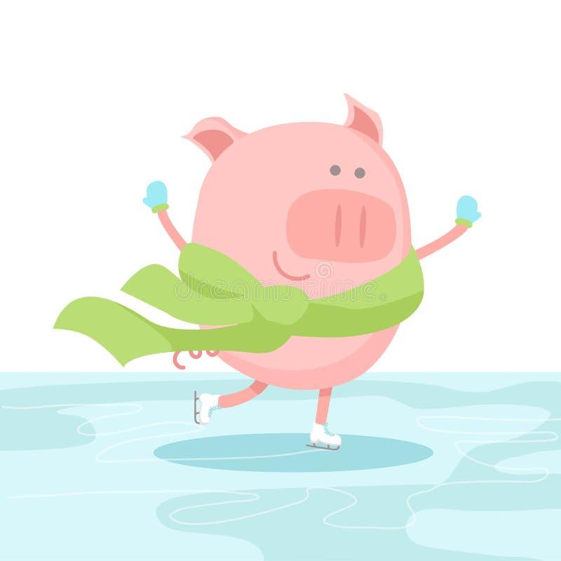 Wektorowa ilustracja rozochocona świnia jest ubranym rękawiczki, szalika i łyżwiarstwo, przy lodowiskiem royalty ilustracja