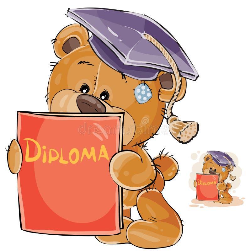 Wektorowa ilustracja rozochocony brown miś w skalowanie nakrętki mieniu w jego łapach uniwersytecki dyplom ilustracji