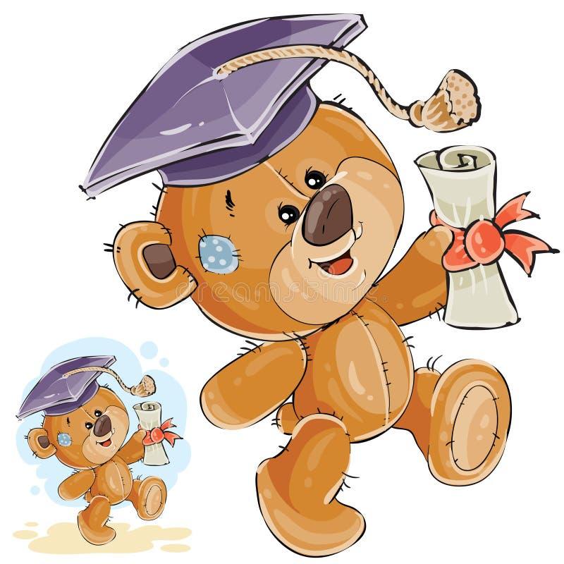Wektorowa ilustracja rozochocony brown miś w skalowanie nakrętki mieniu w jego łapie uniwersytecki dyplom ilustracja wektor