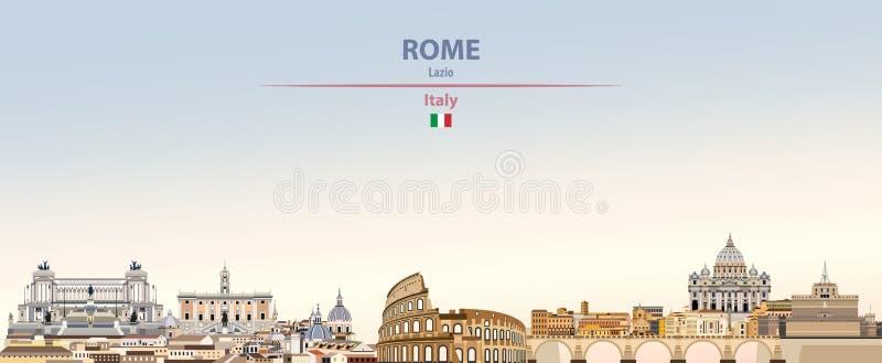 Wektorowa ilustracja Rzym miasta linia horyzontu na kolorowym gradientowym pięknym dnia nieba tle z flagą Włochy ilustracji