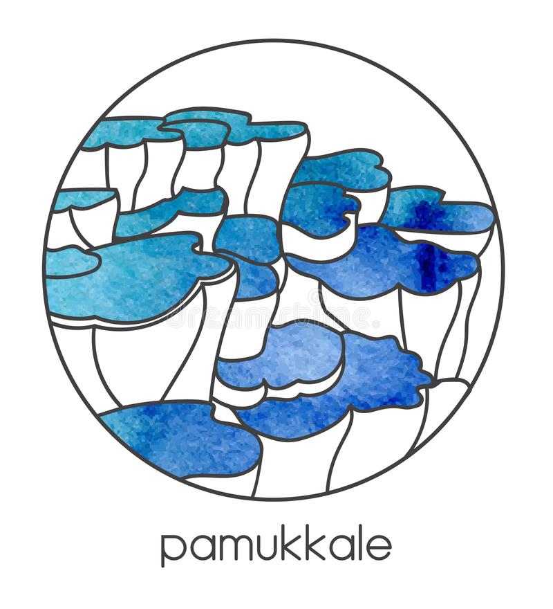 Wektorowa ilustracja sławny turecki punktu zwrotnego i podróży miejsce przeznaczenia Pamukkale w środkowym Turcja ilustracji
