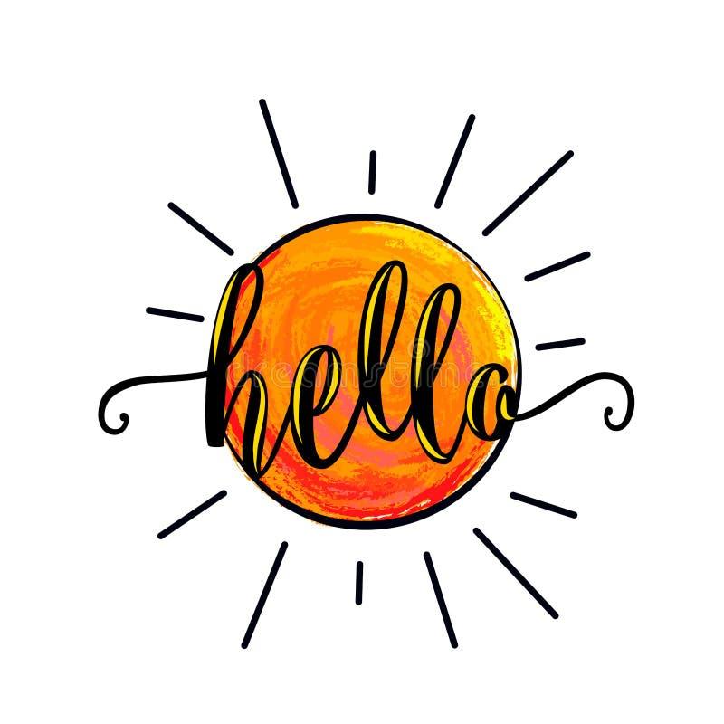 Wektorowa ilustracja słońce dla plakatowego szablonu z literowanie teksta znakiem cześć ilustracja wektor