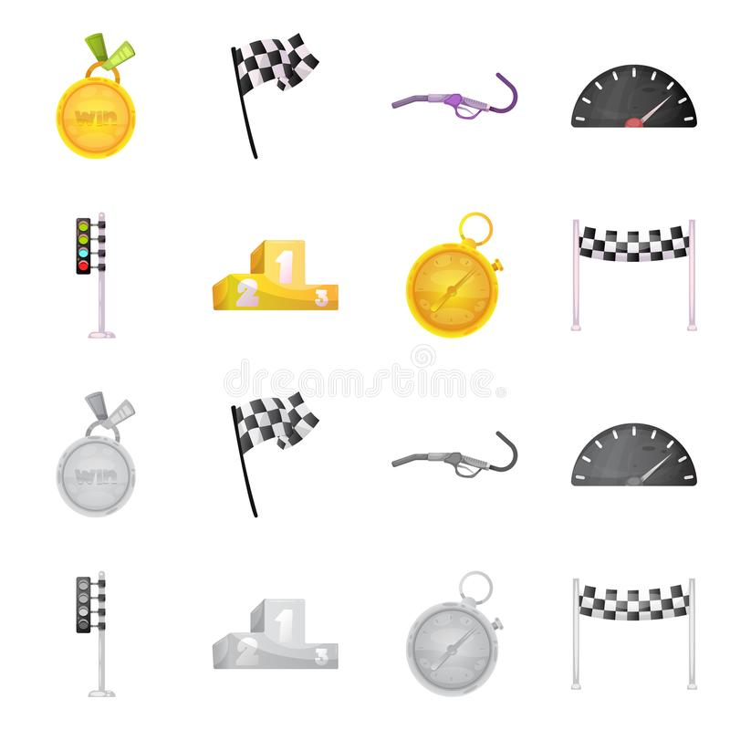 Wektorowa ilustracja samochód i wiec ikona Set samochodu i rasy akcyjna wektorowa ilustracja royalty ilustracja