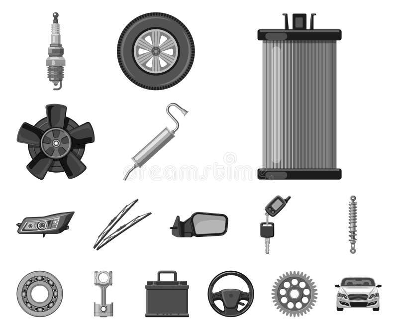 Wektorowa ilustracja samochodu i części ikona Set auto i samochodowa wektorowa ikona dla zapasu ilustracja wektor