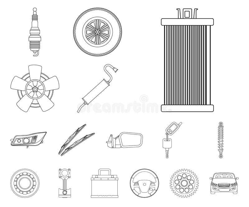 Wektorowa ilustracja samochodu i części logo Kolekcja samochodu i samochodu akcyjna wektorowa ilustracja ilustracja wektor