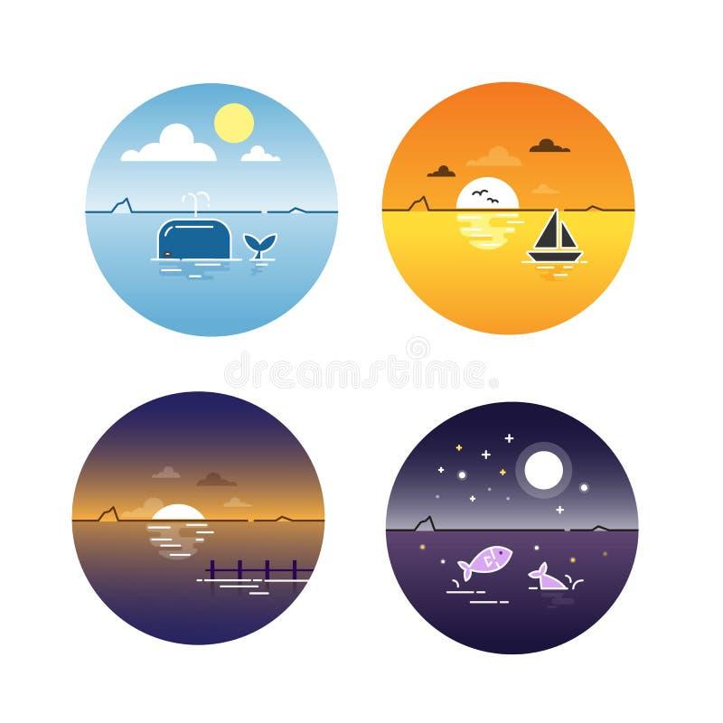Wektorowa ilustracja seascapes dnia cyklu set royalty ilustracja