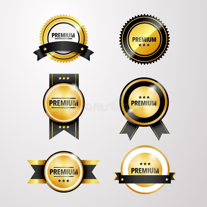 Wektorowa ilustracja, set błyska złote etykietki premii ilość ilustracja wektor