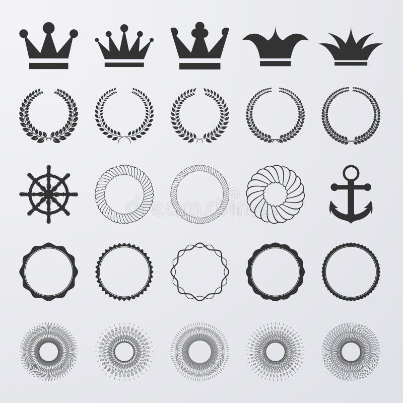 Wektorowa ilustracja set elementy Korona, korony, promienie royalty ilustracja