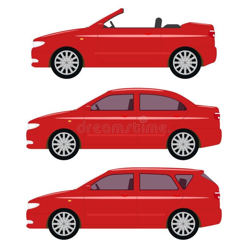 Wektorowa ilustracja set kreskówki czerwieni samochody ilustracja wektor