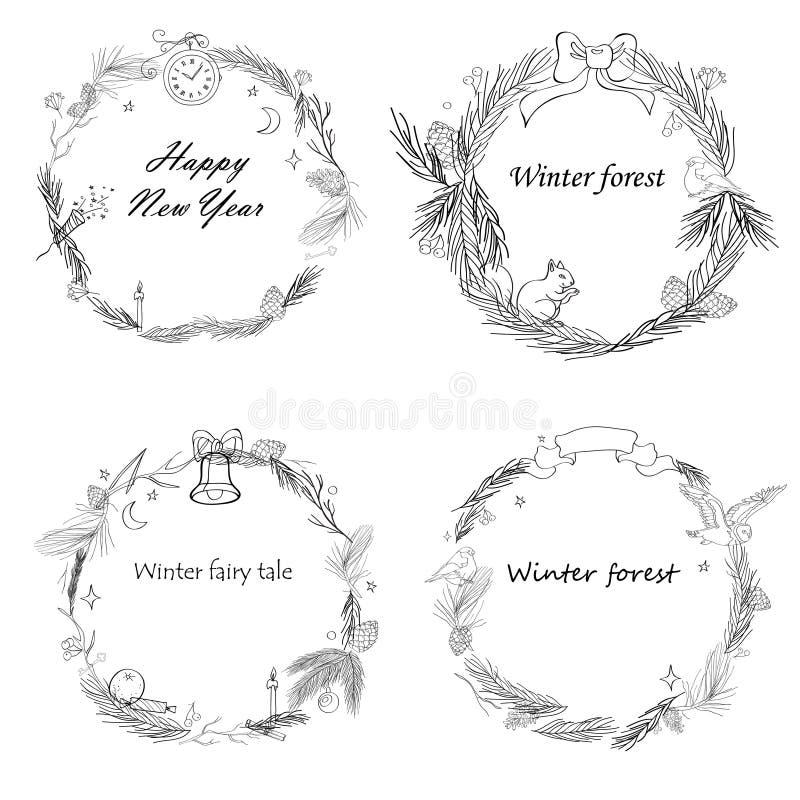 Wektorowa ilustracja, set nowy rok ramy z lasowymi i uroczystymi elementami royalty ilustracja