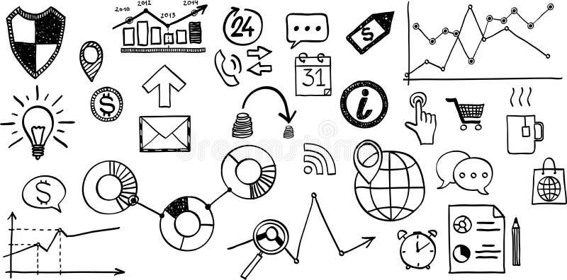 Wektorowa ilustracja set ręka rysujący biznes, ilustracji