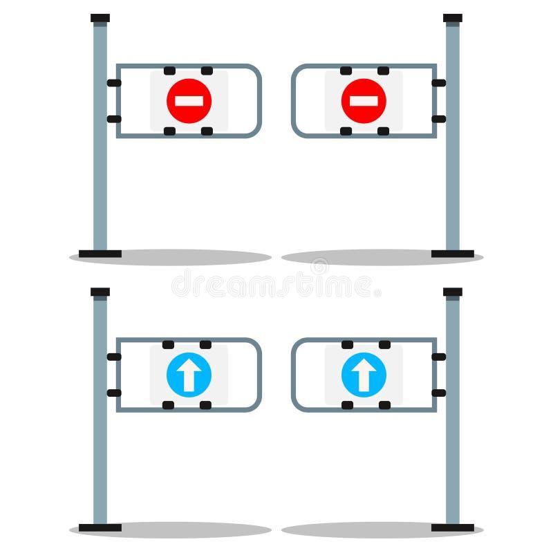Wektorowa ilustracja: set sklepowa wejściowa brama z białą strzałą na błękitnym round i czerwona przerwa podpisujemy royalty ilustracja