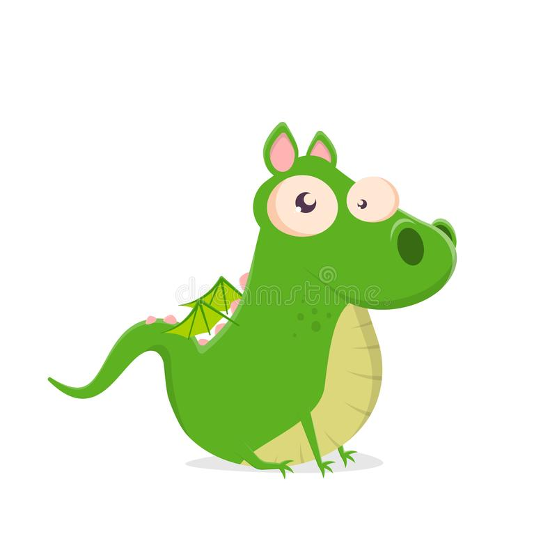 Wektorowa ilustracja siedzący zielony kreskówka smok royalty ilustracja