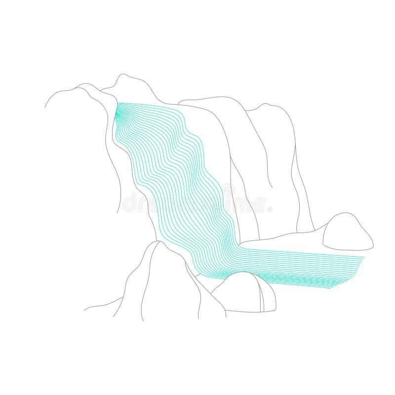 Wektorowa ilustracja siklawy kaskada ilustracja wektor