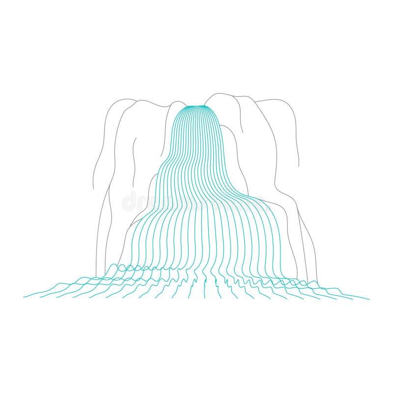 Wektorowa ilustracja siklawy kaskada ilustracji