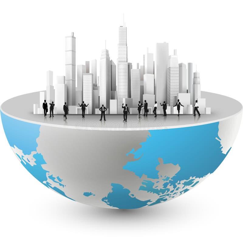 Wektorowa ilustracja skyscrappers na ziemi royalty ilustracja
