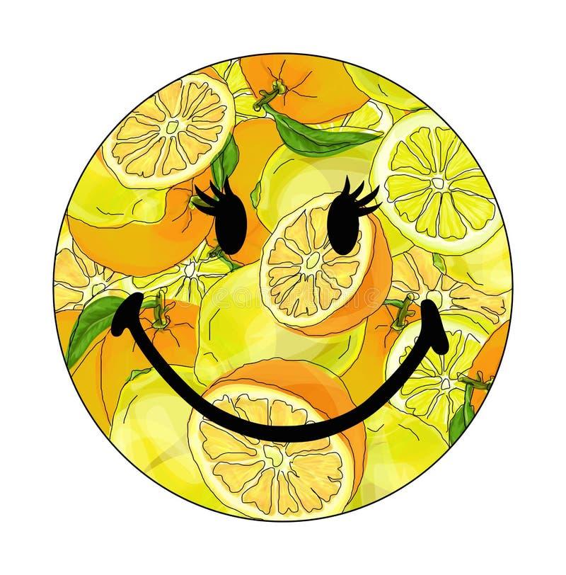 Wektorowa ilustracja smiley z cytrynami ilustracja wektor