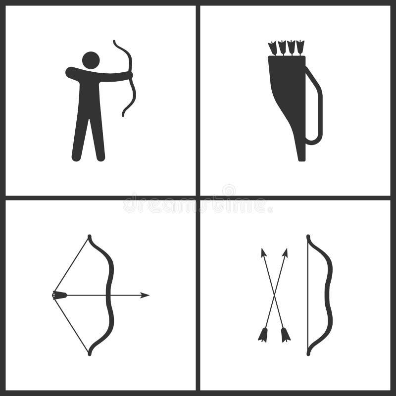 Wektorowa ilustracja sport Ustalone ikony Elementy Archer, Strzałkowaty kołczan, strzała i łęk ikona, ilustracja wektor