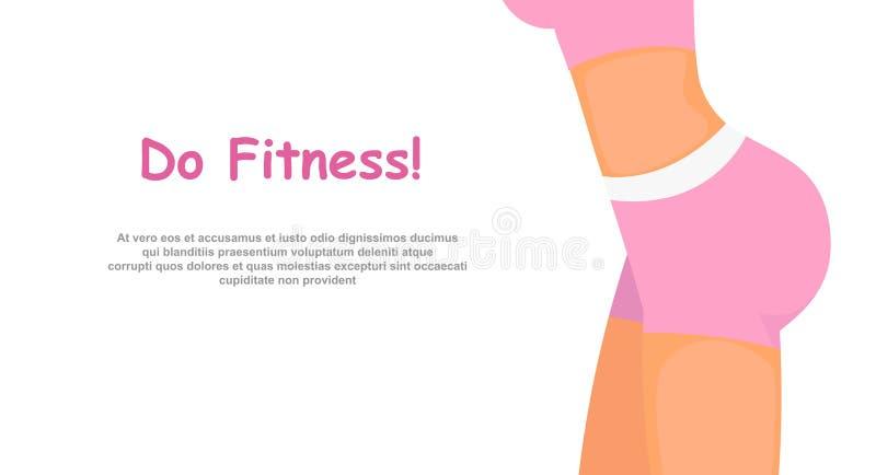 Wektorowa ilustracja sprawności fizycznej dziewczyny ciało w menchiach bawi się odzieżowego, kobieta sporty krupon, w dobrym stan royalty ilustracja