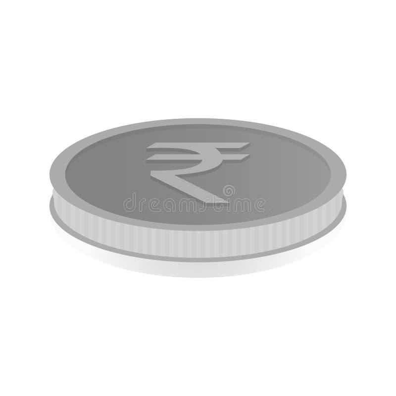 Wektorowa ilustracja srebna moneta z symbolem rupia, rupia royalty ilustracja