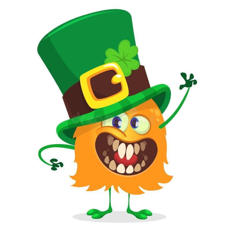 Wektorowa ilustracja St Patrick ` s dnia Leprechaun potwora Szczęśliwy falowanie dla kartka z pozdrowieniami royalty ilustracja