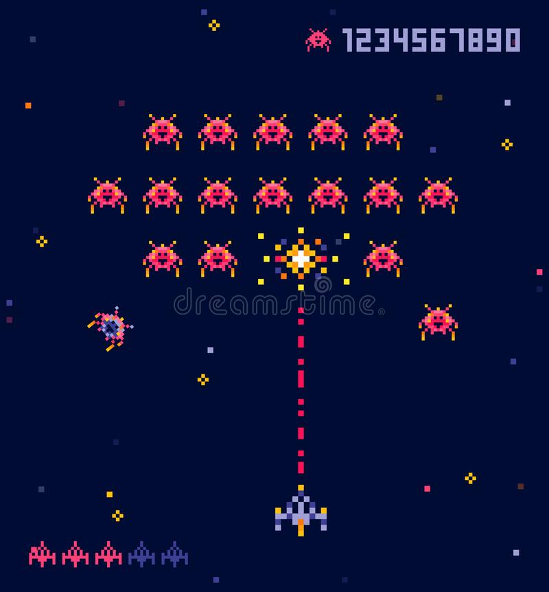 Wektorowa ilustracja stara piksel sztuki stylu Ufo przestrzeni gra wojenna Piksla statek kosmiczny i potwory Retro gra, 8 kawa?k? ilustracja wektor