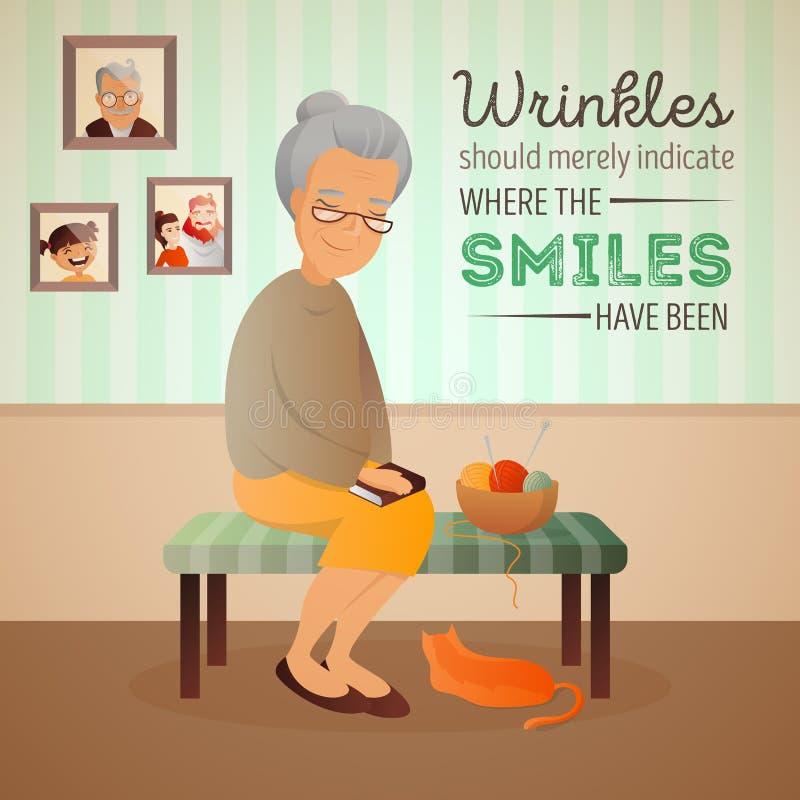 Wektorowa ilustracja starej kobiety obsiadanie w pokoju na kanapie z kota i dziania narzędziami royalty ilustracja
