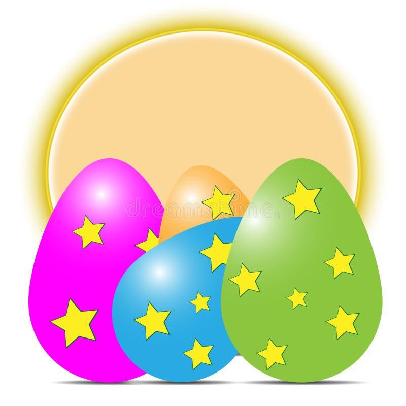 Wektorowa ilustracja stubarwni Easter jajka z cieniami z asteryskami na żółtym okręgu tle na białym tle royalty ilustracja