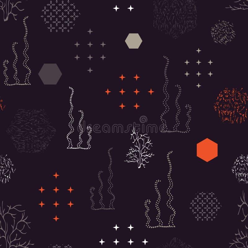 Wektorowa ilustracja stylizowani colourful wzorzyści sześciokąty i gałęzatka kontury ilustracji