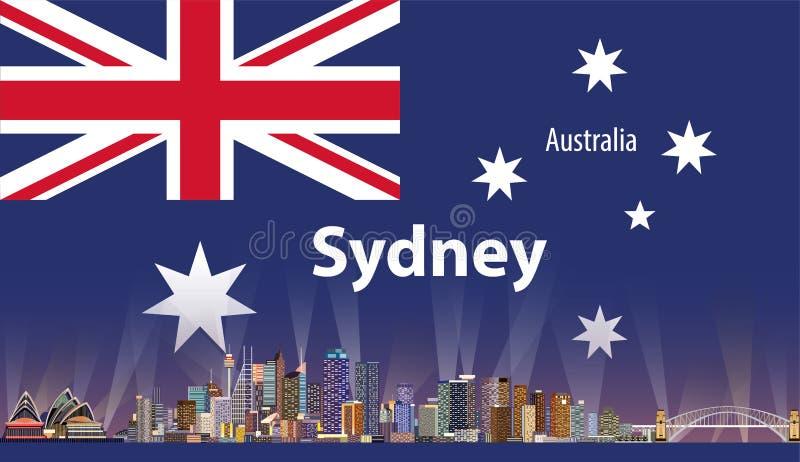 Wektorowa ilustracja Sydney miasta linia horyzontu z flaga Australia na tle royalty ilustracja
