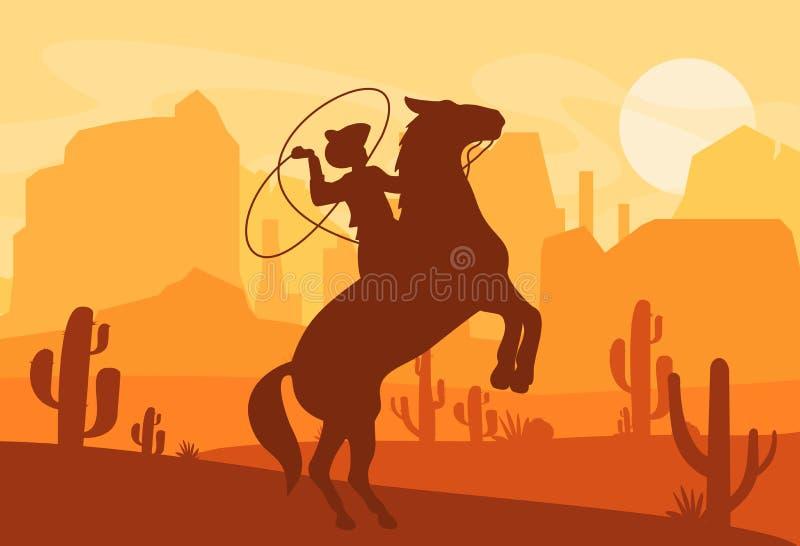 Wektorowa ilustracja sylwetka kowbojski chwytający dziki koń przy zmierzchem z piękną Dziką zachodnią Teksas pustynią dalej ilustracji