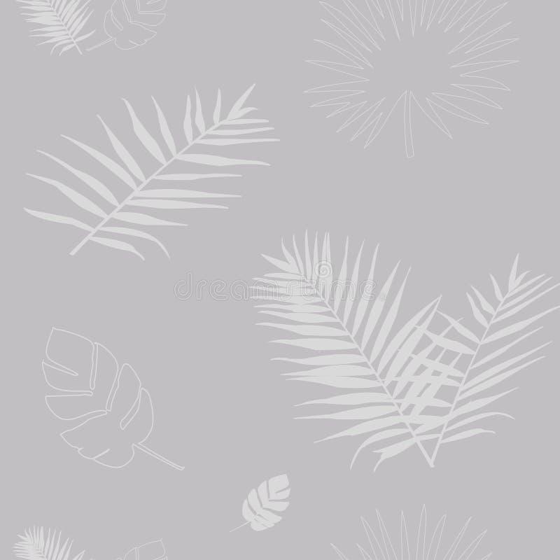 Wektorowa ilustracja sylwetka popielaci palmowi liście fotografia stock