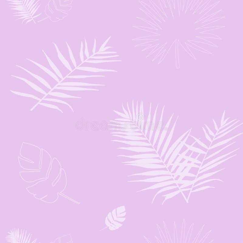 Wektorowa ilustracja sylwetka różowi palmowi liście obrazy stock