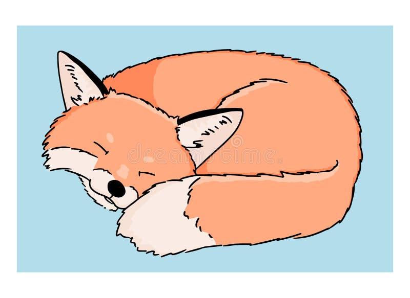 Wektorowa ilustracja sypialny kreskówka lis na białym tle Kolorowa sztuka ręka rysujący śliczny lis na błękitnym tle ilustracja wektor