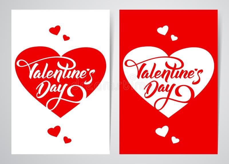 Wektorowa ilustracja: Szablon dwa plakatowy lub kartka z pozdrowieniami z ręki literowaniem walentynki ` s serca i dzień royalty ilustracja