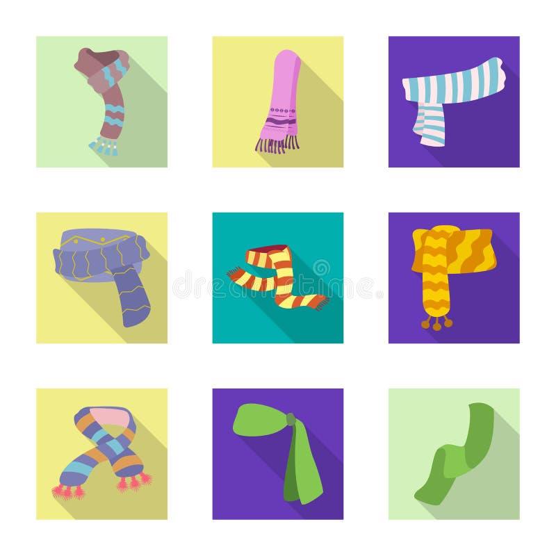 Wektorowa ilustracja szalika i chusty logo Set szalika i akcesorium akcyjna wektorowa ilustracja ilustracja wektor
