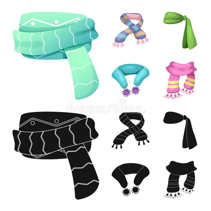 Wektorowa ilustracja szalika i chusty logo Set szalik i akcesoryjny akcyjny symbol dla sieci royalty ilustracja