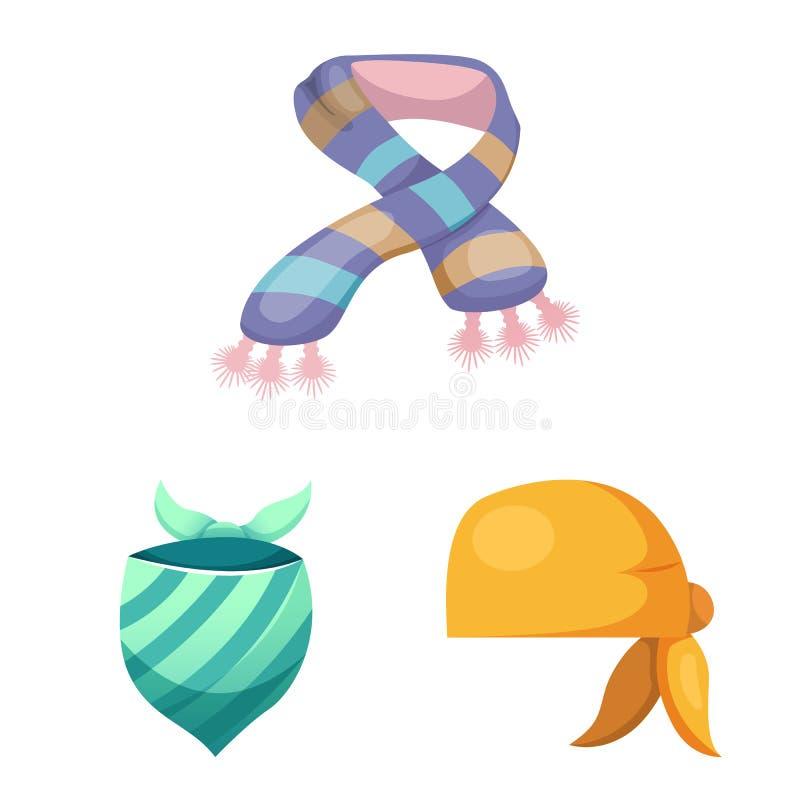 Wektorowa ilustracja szalika i chusty symbol Kolekcja szalika i akcesorium akcyjna wektorowa ilustracja royalty ilustracja
